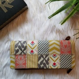 fossil patchwork tan wallet